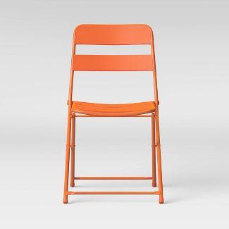 Metal Slat Patio Folding Chair - Orange - Room Essentials™