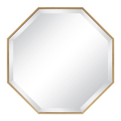 "25"" x 25"" Rhodes Framed Octagon Wall Mirror Gold - Kate and Laurel"