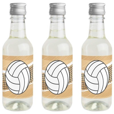 Big Dot of Happiness Bump, Set, Spike - Volleyball - Mini Wine and Champagne Bottle Label Stickers - Baby Shower or Birthday Party Favor - Set of 16