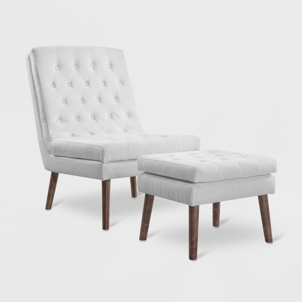 2pc Modify Upholstered Lounge Chair & Ottoman White - Modway