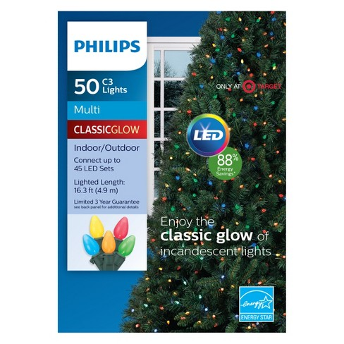 philips 50ct christmas led c3 string lights multicolored gw target