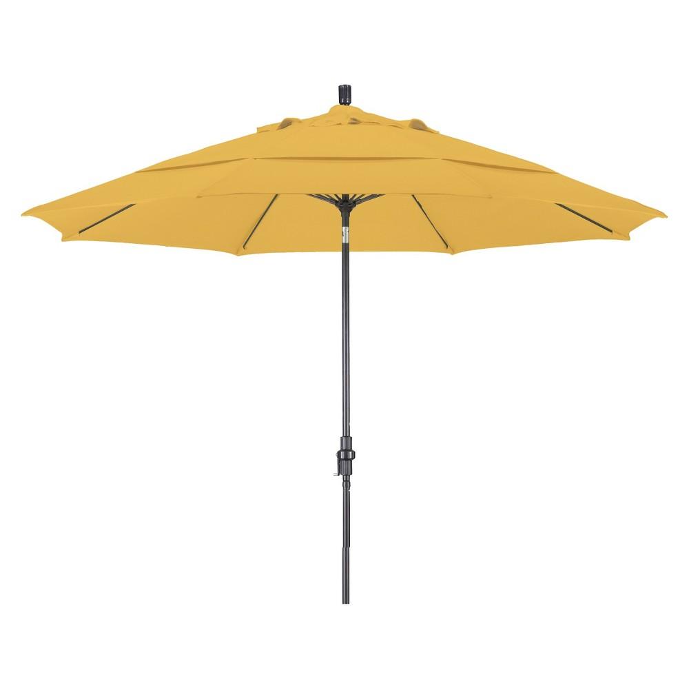 11' Aluminum Collar Tilt Crank Patio Umbrella Yellow - Pacifica