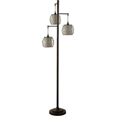 3 Head Bronze Floor Lamp with Ivory Fabric & Metal Mesh Shades  - StyleCraft
