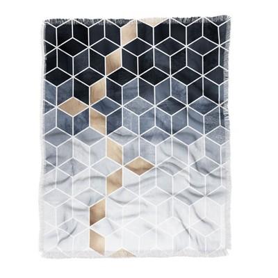 "60""X50"" Elisabeth Fredriksson Gradient Cubes Throw Blanket Black - Deny Designs"