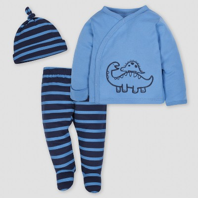 Gerber Baby Boys' Dinosaur 3pc Side-Snap Shirt, Footed Pants and Cap Set - Blue 3-6M