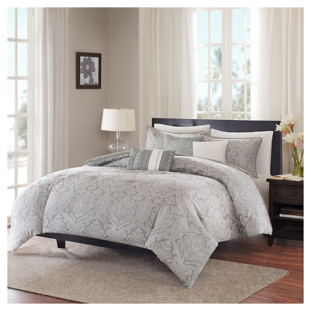 Devin Medallion Paisley Duvet Set (King/California King) Gray - 6pc