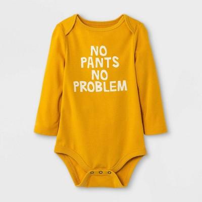 Baby Boys' 'No Pants' Long Sleeve Bodysuit - Cat & Jack™ Mustard Yellow 6-9M