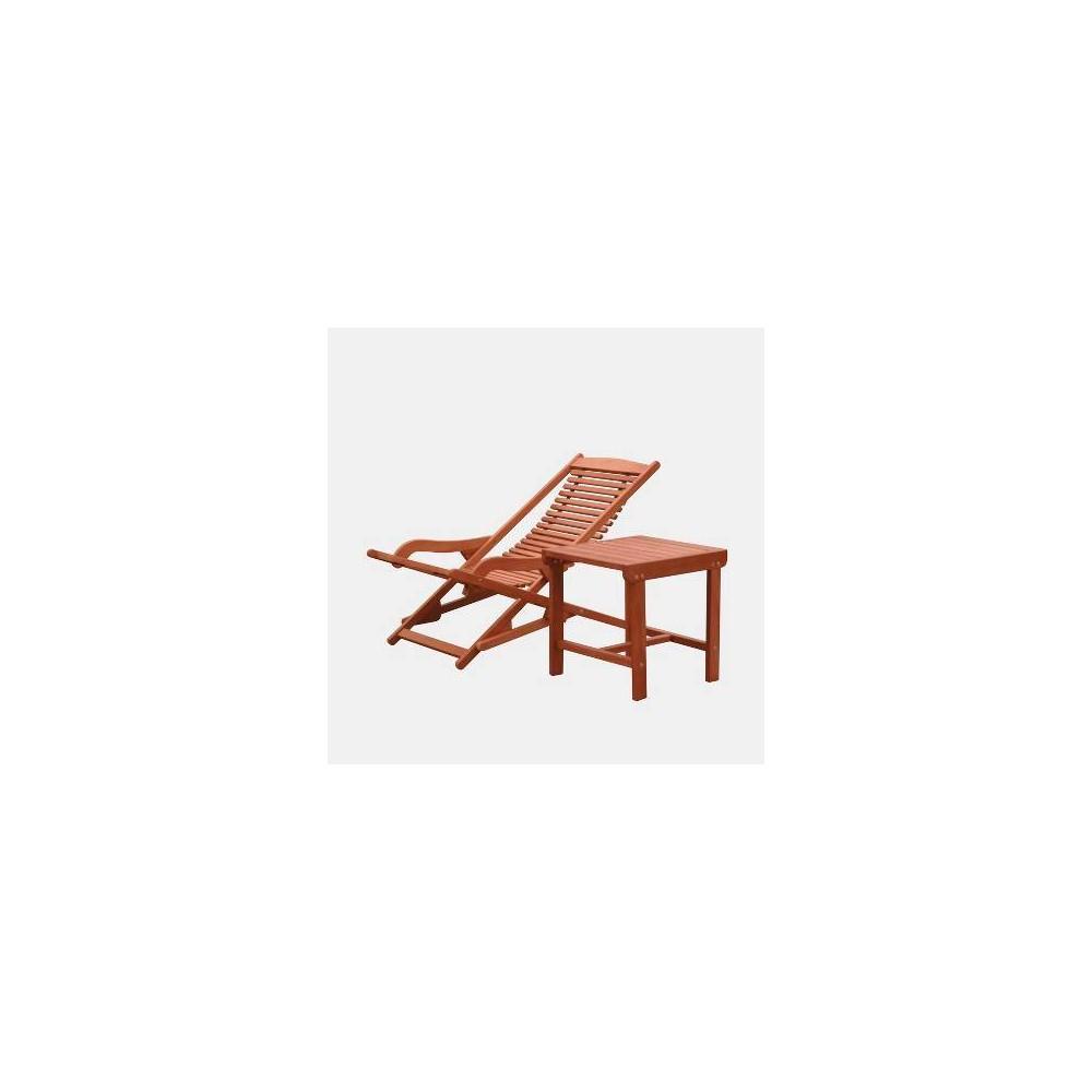 Image of Malibu Wood Outdoor Patio 2pc Chaise Lounge Set