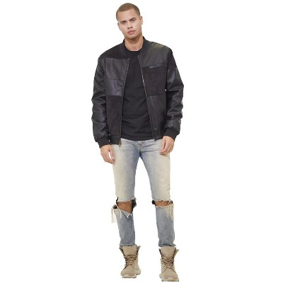 Members Only Mens Vegan Leather and Suede Bomber