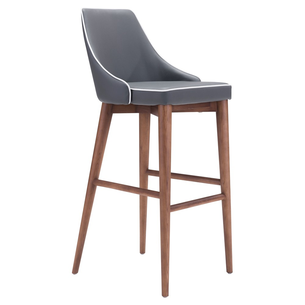 299 Wing Back Faux Leather Barstool Dark Gray Zm Home