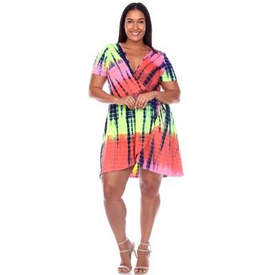 Plus Size Tie Dye Print V-Neck Wrap Dress - White Mark