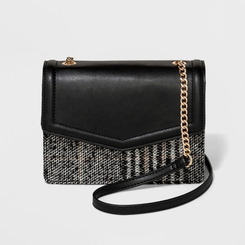 Trapunto Flap Crossbody Bag - A New Day™ Black Plaid - image 1 of 3