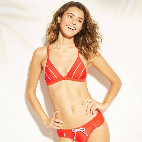 Women's Piping Trim Triangle Bikini Top - Xhilaration™ Tomato Red - image 1 of 4