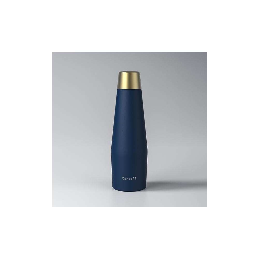 Proof 18oz Double-Wall Vacuum Insulated Medical Grade Steel Water Bottle Vega Navy with Gold Lid, Dark Blue