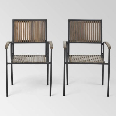 2pk Bridget Wood & Iron Patio Dining Chair Gray - Christopher Knight Home