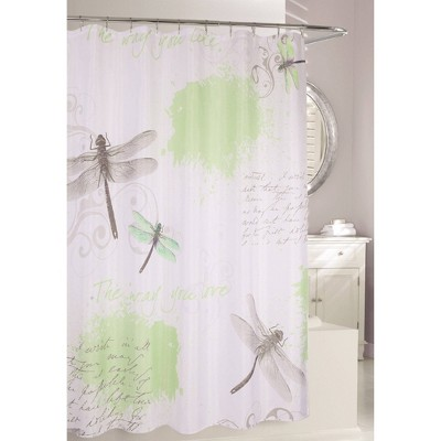 Dragonfly Shower Curtain Green/Gray - Moda at Home