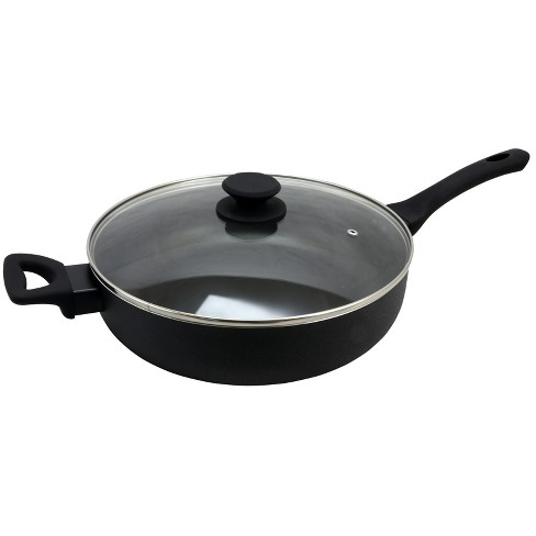 Oster Ashford 5 Quart Aluminum Sauté Pan with Tempered Glass Lid in Black - image 1 of 4