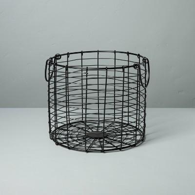Medium Round Wire Storage Basket with Handles Black - Hearth & Hand™ with Magnolia