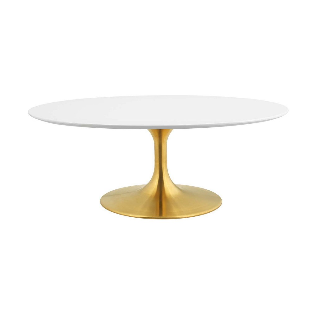 42 Lippa Oval Shaped Coffee Table Gold White - Modway