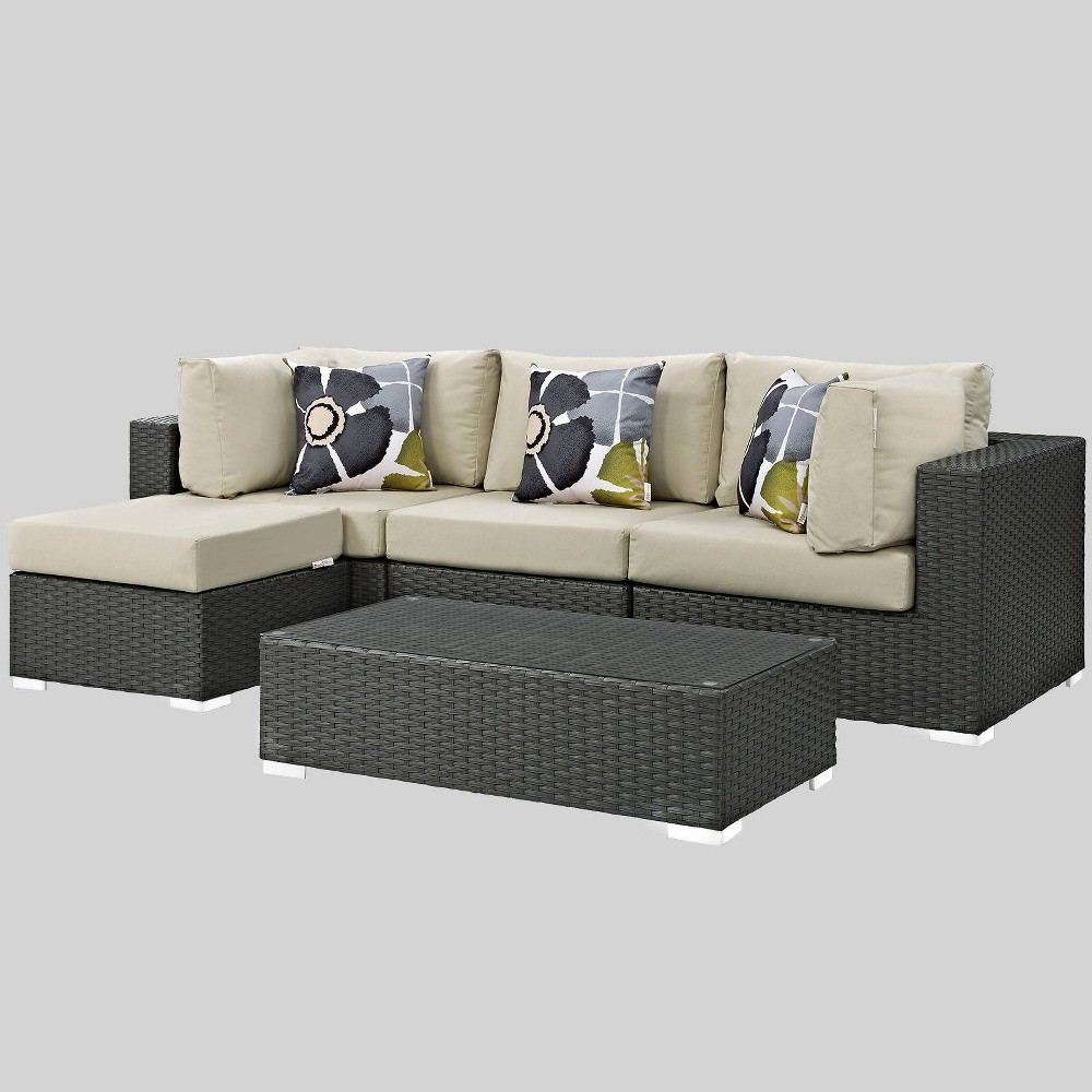 Sojourn 5pc Outdoor Patio Sunbrella Sectional Set - Beige - Modway