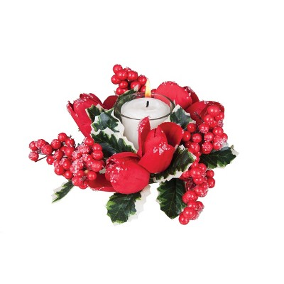 Gallerie II Holiday Floral Candle Wreath