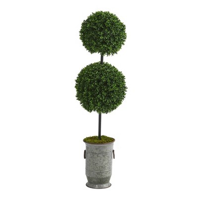 "Nearly Natural 50"" Indoor/Outdoor Boxwood Double Ball Artificial Topiary Tree in Vintage Metal Planter"