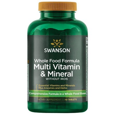 Swanson Whole Foods Formula Multivitamin and Mineral Without Iron Tablets, 90 Count.