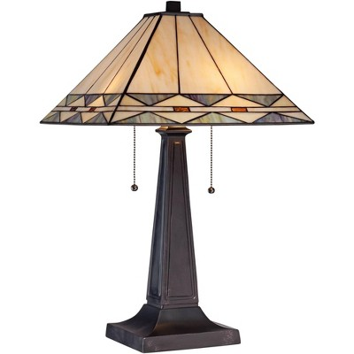 Robert Louis Tiffany Art Deco Accent Table Lamp Mission Bronze Stained Glass Shade for Living Room Family Bedroom Bedside Office