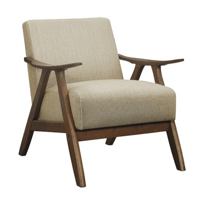 Lexicon Damala Collection Retro Inspired Wood Frame Accent Chair Seat with Polyester Fabric for Living Rooms and Offices, Light Brown