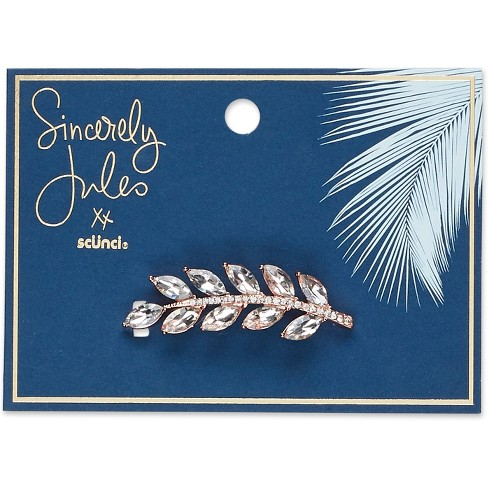 Sincerely Jules by Scnci Crystal Leaf Jeanwire Barrette  - 6cm - image 1 of 3