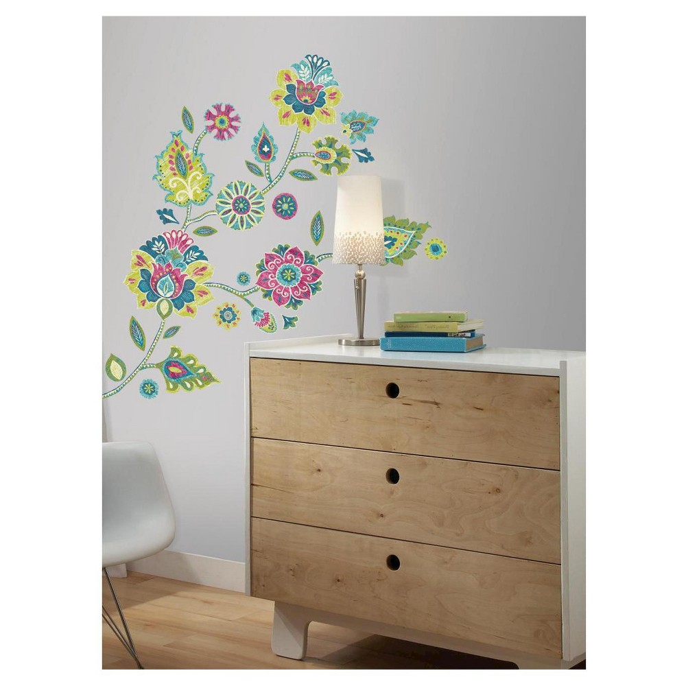 Image of RoomMates Boho Floral Peel and Stick Giant Wall Decals