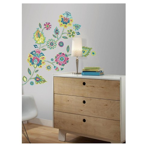 RoomMates Boho Floral Peel and Stick Giant Wall Decals - image 1 of 4