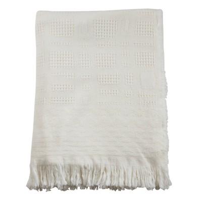 Cross Hatch Waffle Weave Throw Blanket Ivory - Saro Lifestyle
