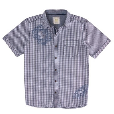 Ecoths Mens Check Relaxed Fit Short Sleeve Collared Button Down Shirt - Purple Large