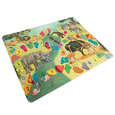 Hey! Play! Microfiber Flannel Fleece & Foam Mat Play Mat - Safari Animals, Letters & Numbers