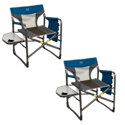 Timber Ridge Portable Lightweight Aluminum Frame Folding Camping Directors Chairs with Side Tables & Cupholders (2 Pack)