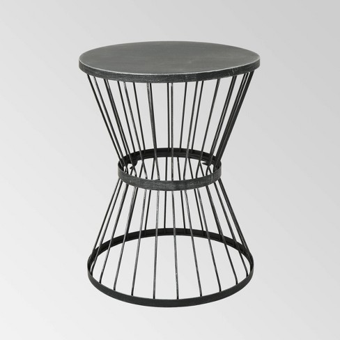 16 Iron Patio Side Table Matte Black