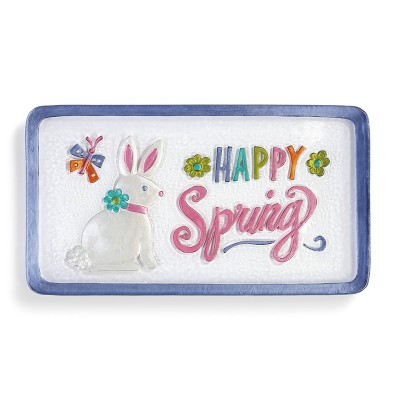 DEMDACO Happy Spring Bunny Platter 15 x 8 - Purple