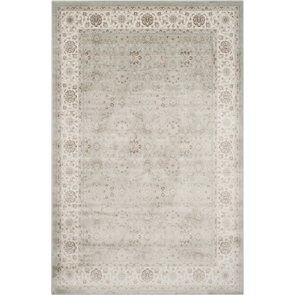 8'X11' Floral Loomed Area Rug Silver/Cream (Silver/Ivory) - Safavieh