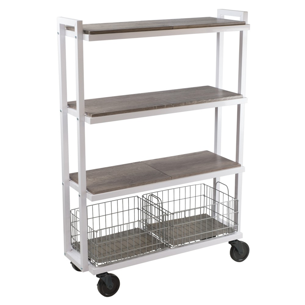 Image of Cart System with wheels 4 Tier White - Urb Space