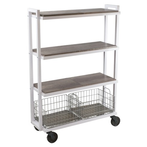 Cart System with wheels 4 Tier White - Urb Space - image 1 of 7