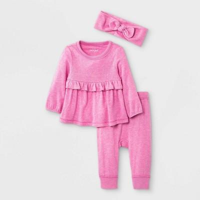 Baby Girls' 3pc Cozy Top & Bottom Set with Headband - Cat & Jack™ Pink 12M