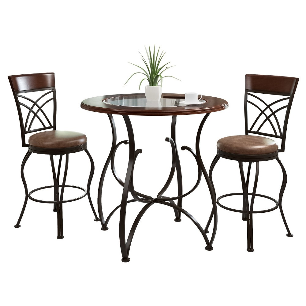 Counter Height 3 Piece Bistro Set - Rustic Brown - CorLiving