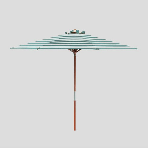 9' Round Classic Wood Striped Market Umbrella Teal/Ivory - Parasol - image 1 of 5