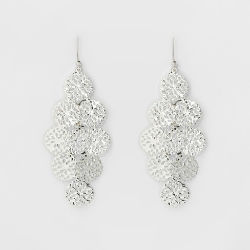 Women's Filigree Cascading Drop Earring - A New Day™ Silver - image 1 of 2