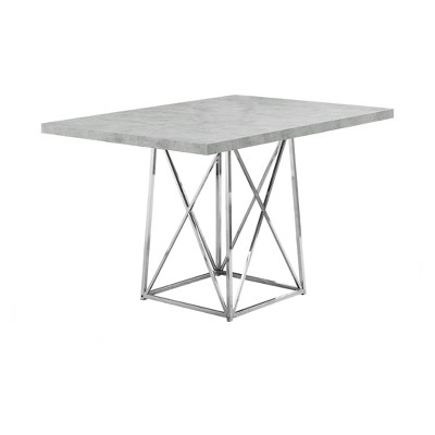 "36"" X 48"" Dining Table Chrome Metal Cement Gray - EveryRoom"