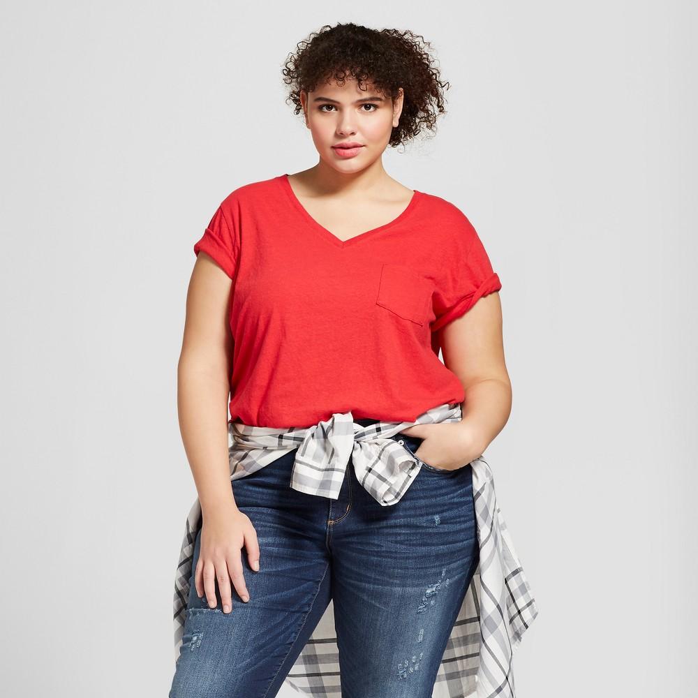 Women's Plus Size Monterey Pocket V-Neck Short Sleeve T-Shirt - Universal Thread Red 1X