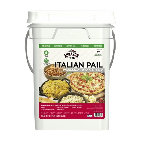 Augason Farms Italian Variety Kit Emergency Survival Food 5 Varieties 4-Gallon Pail 87 Servings - image 1 of 9