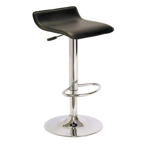 Single Airlift Swivel Stool with Black Faux Leather Seat - Black, Metal - Winsome - image 1 of 4