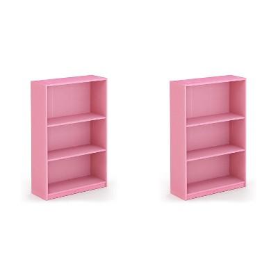 Furinno Jaya Home Simple Sleek Wooden 3 Tier Adjustable Open Bookcase Display Closet Storage Shelf for Living Room and Bedroom Spaces, Pink (2 Pack)